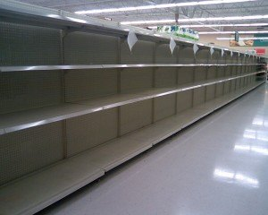 Bare shelves in Wal-mart